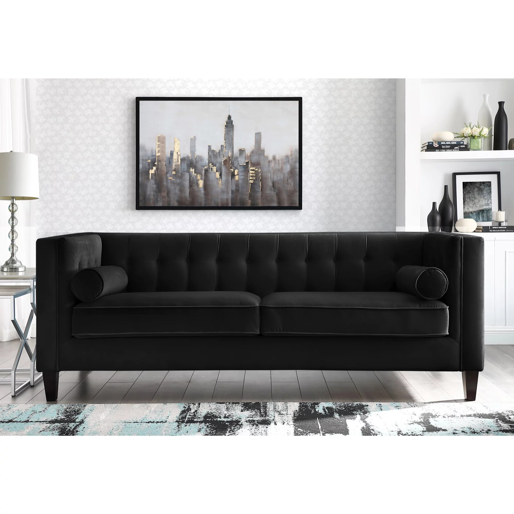Square Sofa Rin Black Velvet Sofa Button Tufted Square Arms Tapered Legs Modern Contemporary