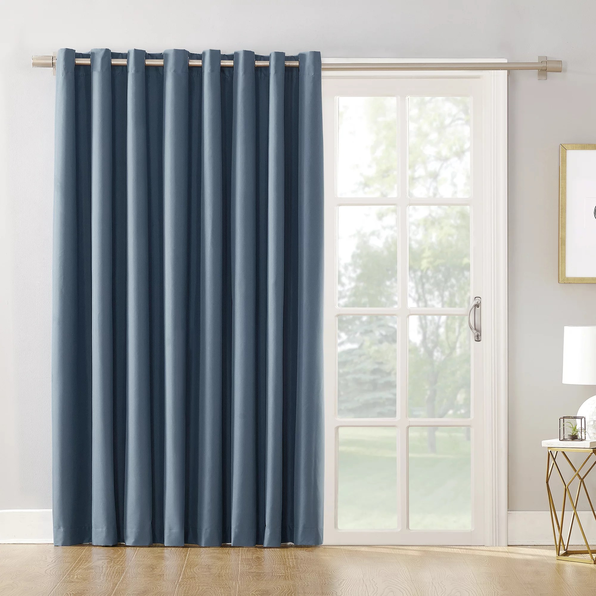 Thermal Patio Door Curtains With Grommets Mainstays Sliding Glass Door Thermal Lined Room Darkening Grommet Curtain Panel