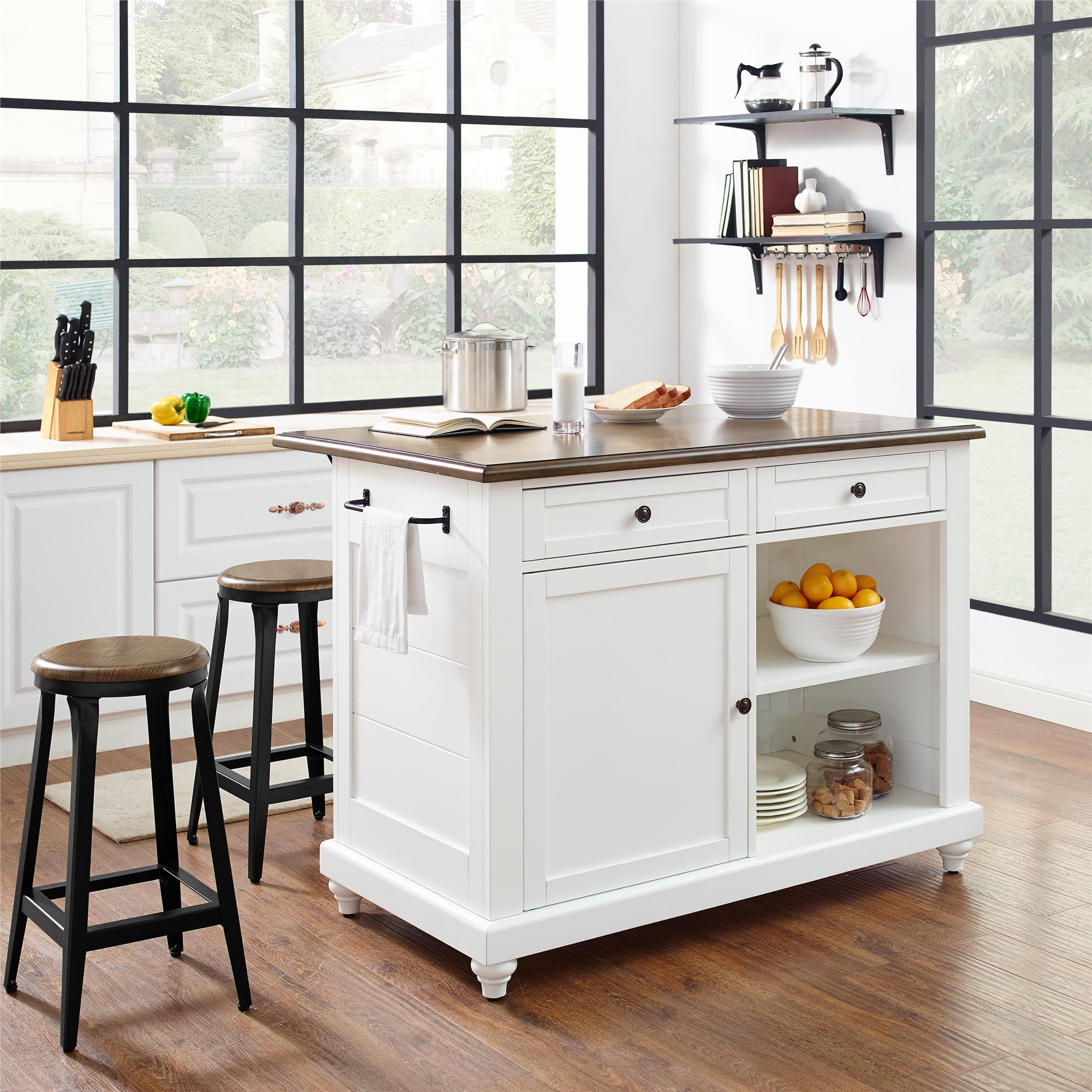 Stools Kitchen Islands Dorel Living Kelsey Kitchen Island With 2 Stools White Walmart