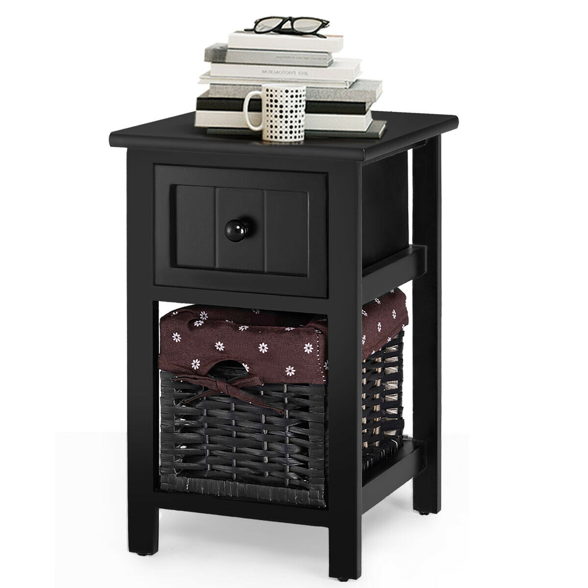 Black End Tables With Drawer Gymax 2 Tier Mini Nightstand 1 Drawer Bedside End Table Organizer Wood W Basket Black