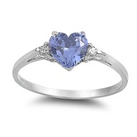 Simulated Tanzanite Heart Promise Ring ( Sizes 4 5 6 7 8 9 ...
