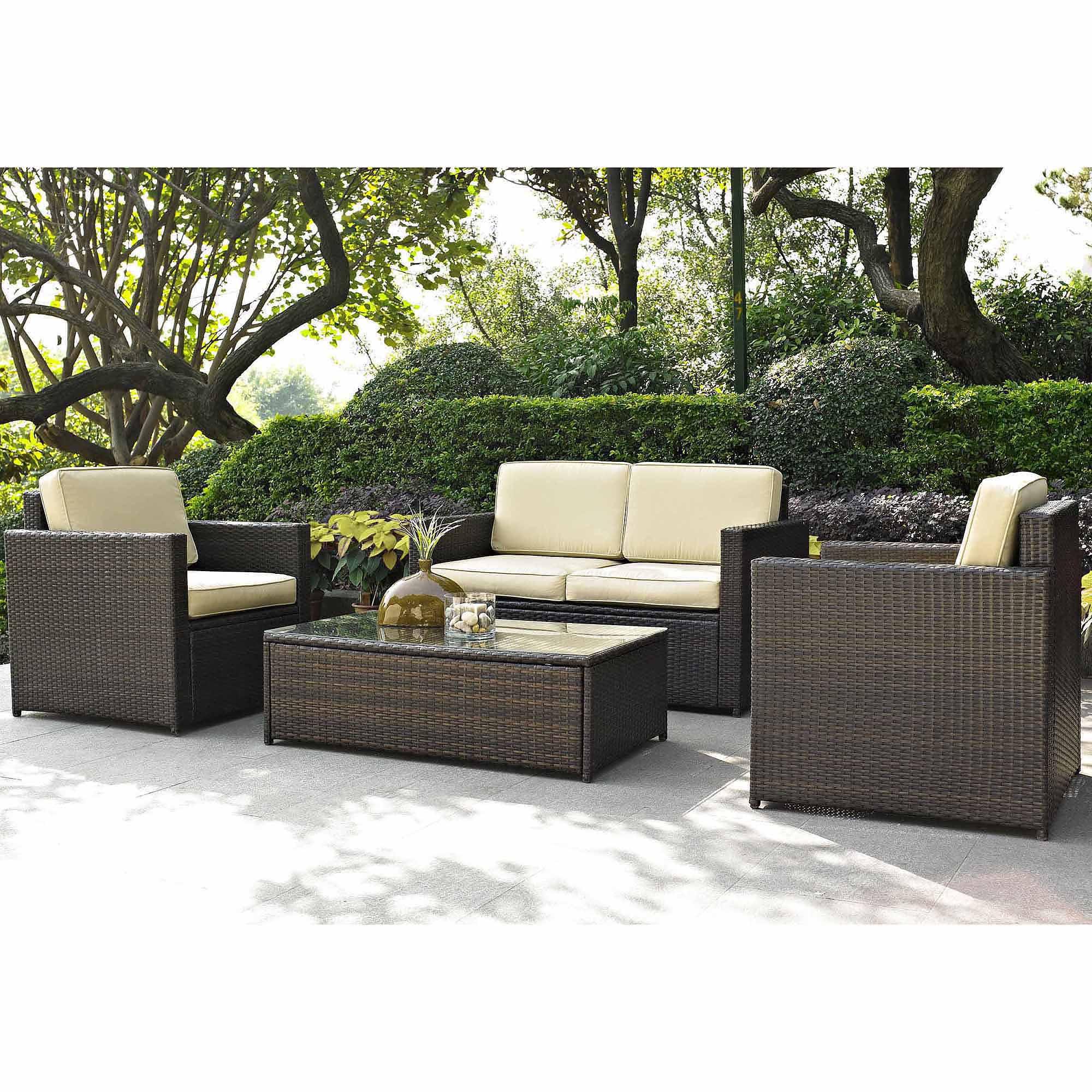 Best choice products outdoor garden patio 4pc cushioned seat black wicker sofa furniture set walmart com