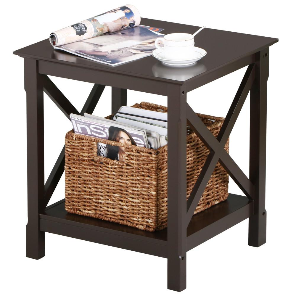 Coffee And End Tables With Storage X Design Wood Coffee Side End Table With Storage Shelf For Living Room Espresso Rustic