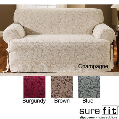 Sure Fit Scroll T Cushion Loveseat Slipcover Burgundy