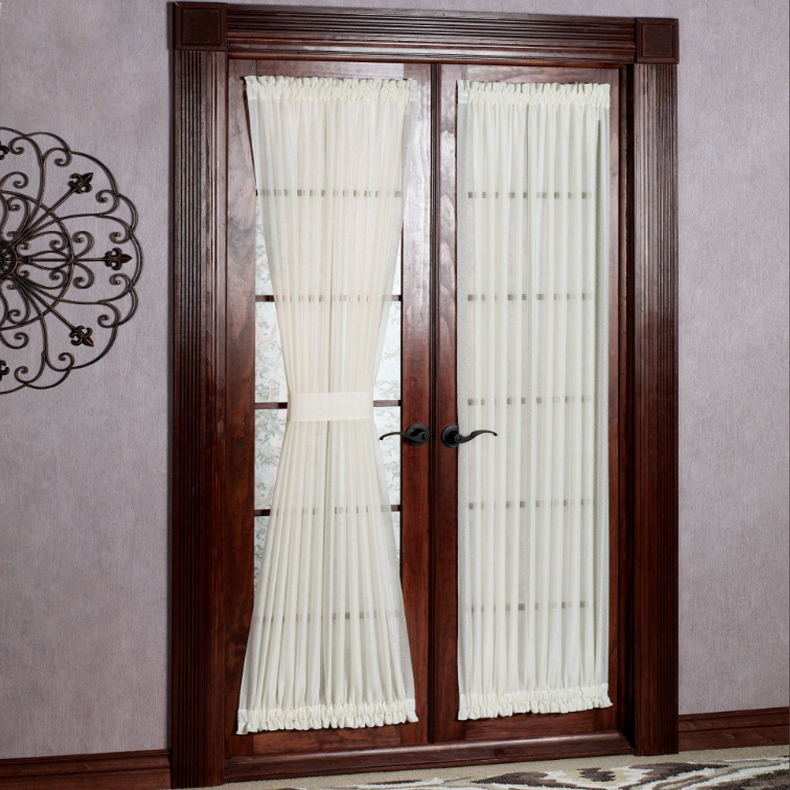 White Sheer Door Panel Curtains Reverie Semi Sheer Tailored Door Panel With Tieback 60