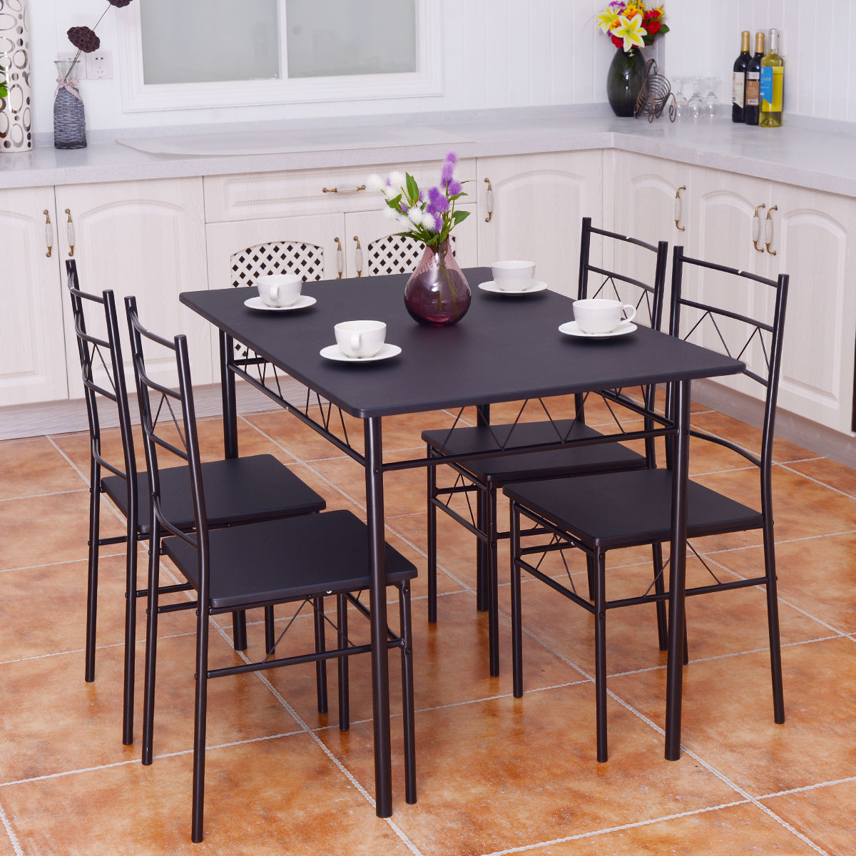 Breakfast Chairs Costway 5 Piece Dining Table Set 4 Chairs Wood Metal Kitchen Breakfast Furniture Black