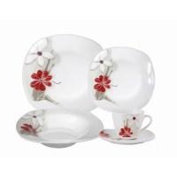 Lorren Home Trends Porcelain 20 Piece Square Dinnerware ...