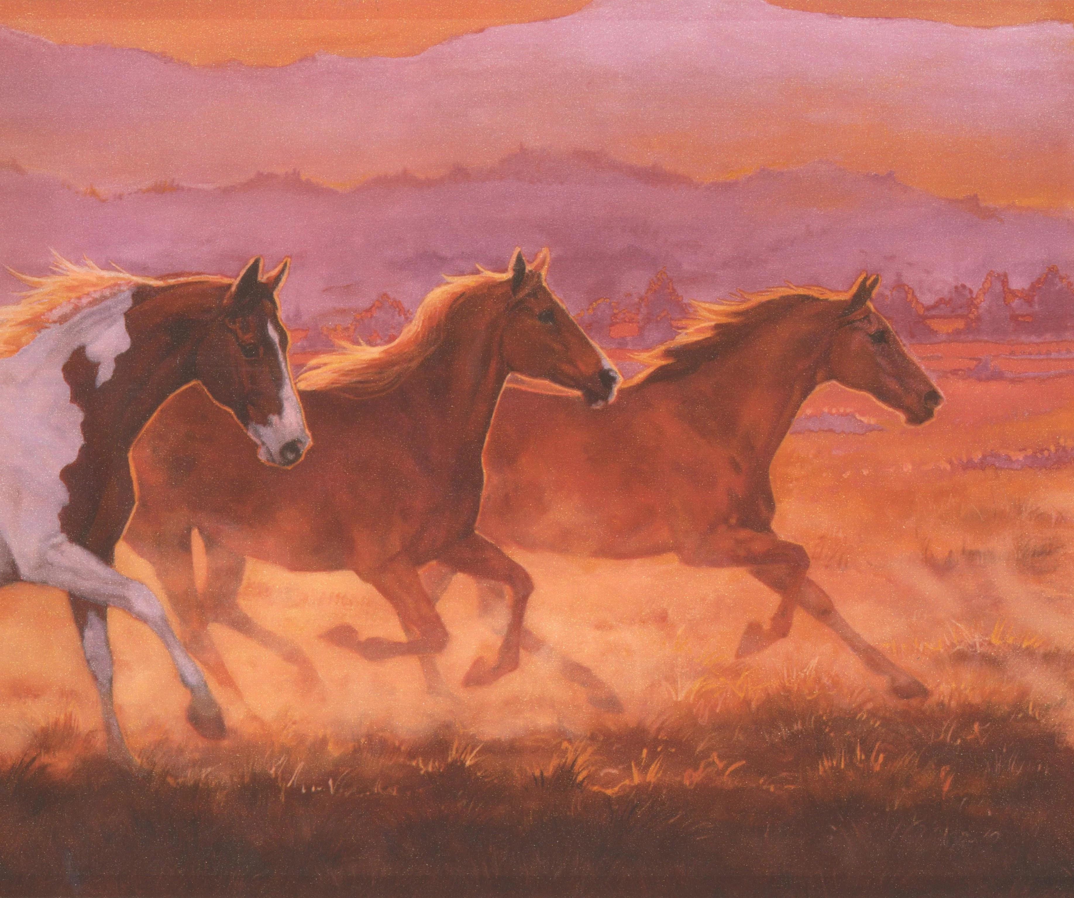 Beautiful Galloping Horses in the Wild Orange Wallpaper