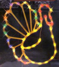 "17"" Lighted Thanksgiving Turkey Window Silhouette"