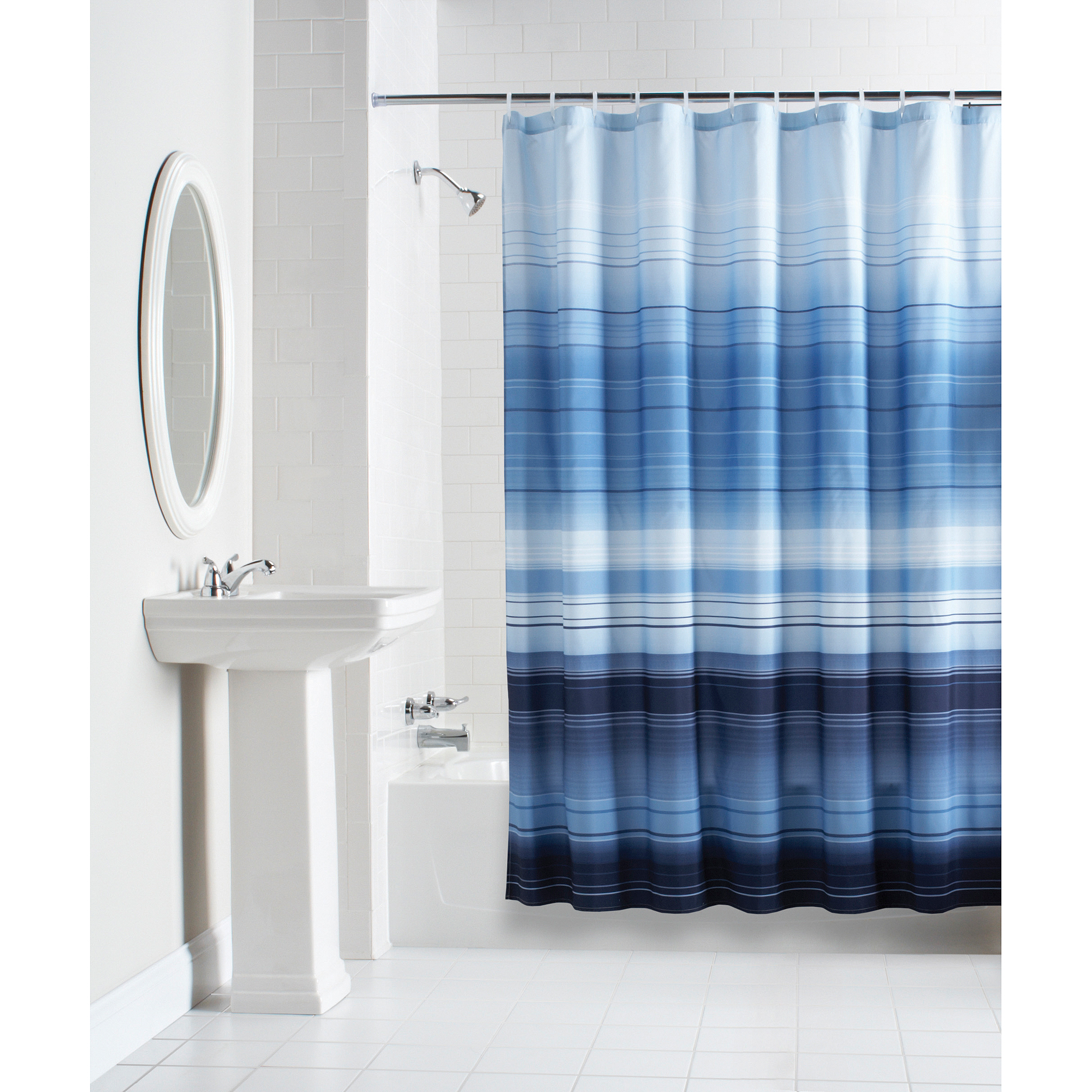 Mainstays ombre stripe fabric shower curtain blue shower curtains