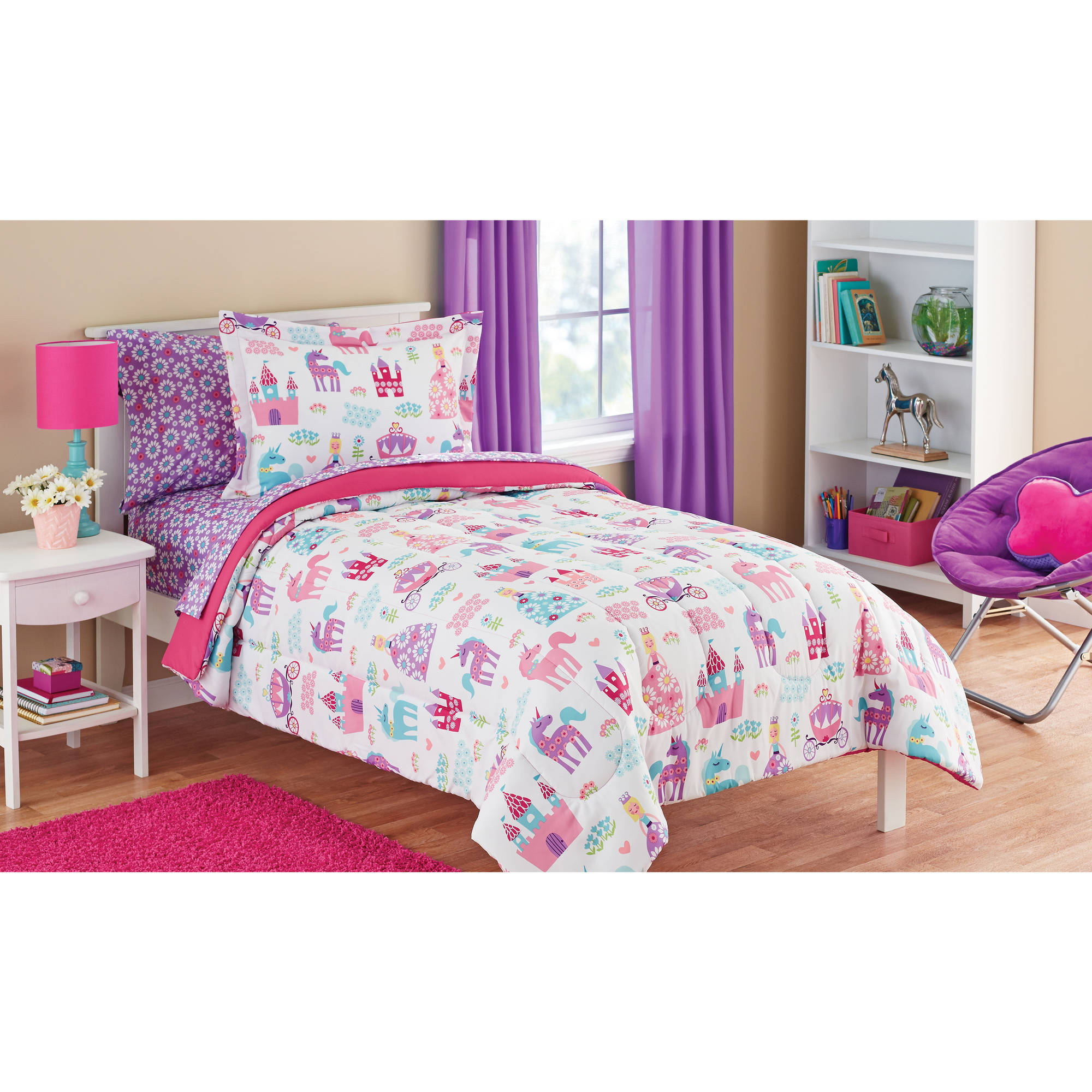 Where To Buy Nice Duvet Covers Mainstays Kids Pretty Princess Bed In A Bag Coordinating Bedding Set Walmart