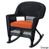 Jeco Black Rocker Wicker Chair with Cushions (Set of 2 ...