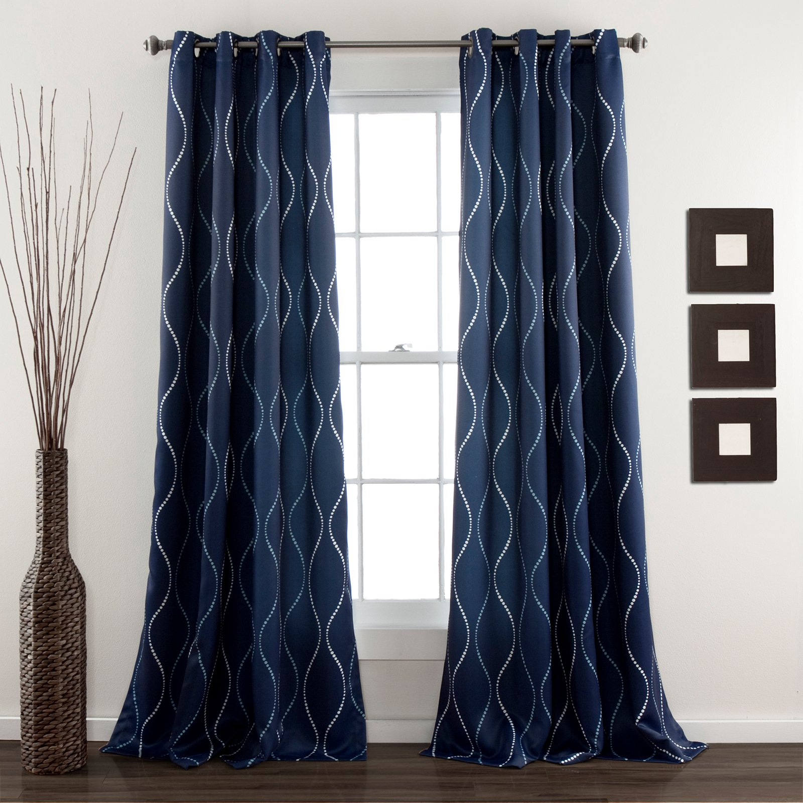 Dark Blue And Grey Curtains Swirl Window Curtains Set