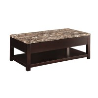 ACME Dusty Coffee Table with Lift Top, Faux Marble ...