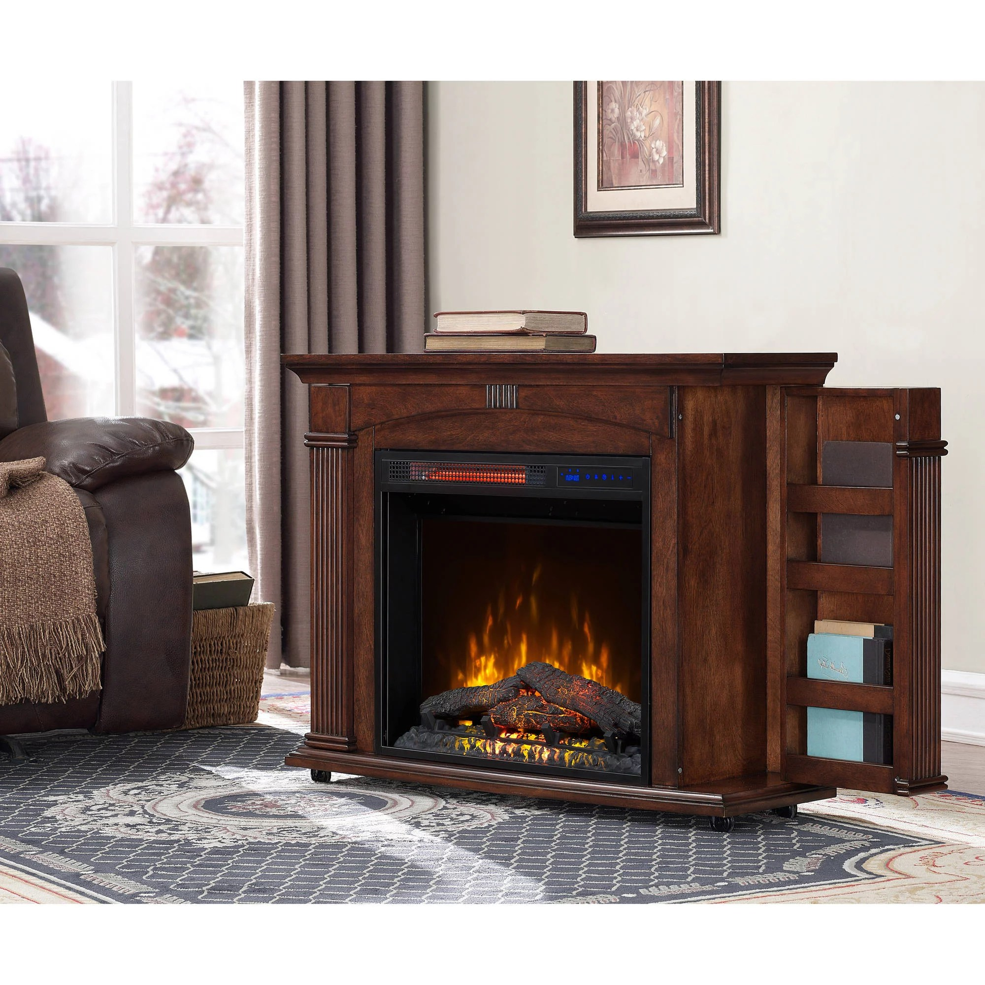 Cherry Fireplace Mantels Prokonian 37 Inch Mantel Electric Fireplace In Cherry