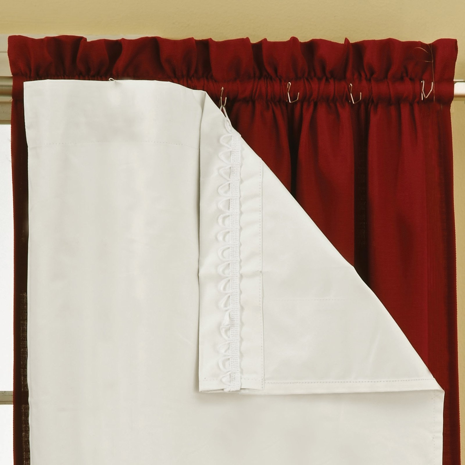 Dark Red Blackout Curtains Eclipse Blackout Thermaliner Curtain Panels Set Of 2