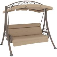 CorLiving Nantucket Patio Swing with Arched Canopy, Beige ...