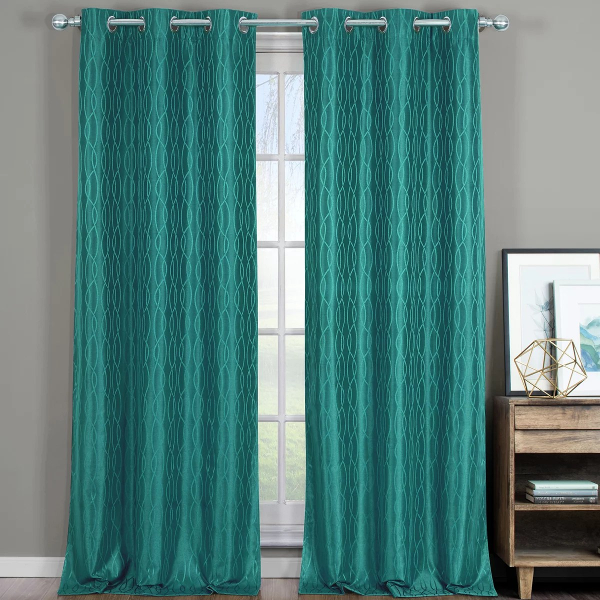 Teal Blackout Curtains Pair Voyage Jacquard Thermal Blackout Curtain Panels With Grommets Set Of 2 76x84 Teal