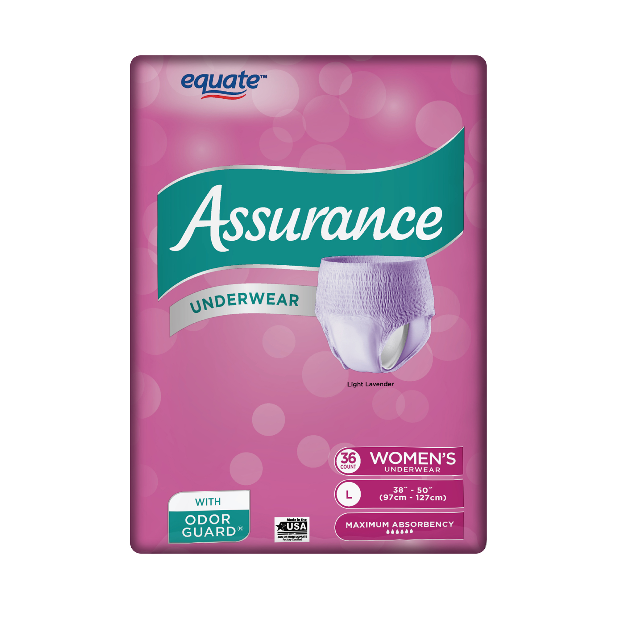 Assurance Garage Location Women S Maximum Assurance Fresh Lavender Color Underwear L 36 Ct
