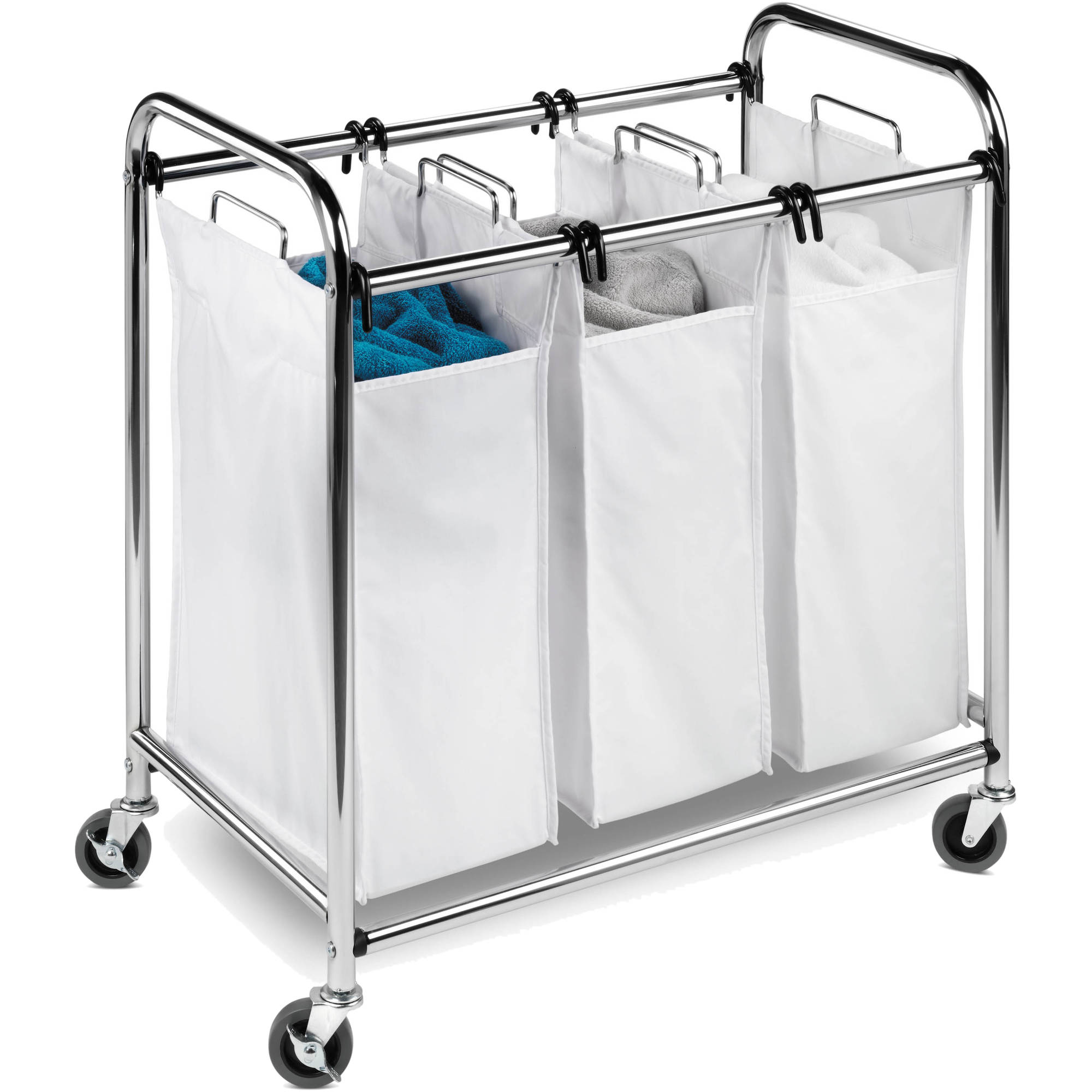 Dirty Laundry Baskets Honey Can Do Commercial Grade Triple Laundry Sorter Chrome White
