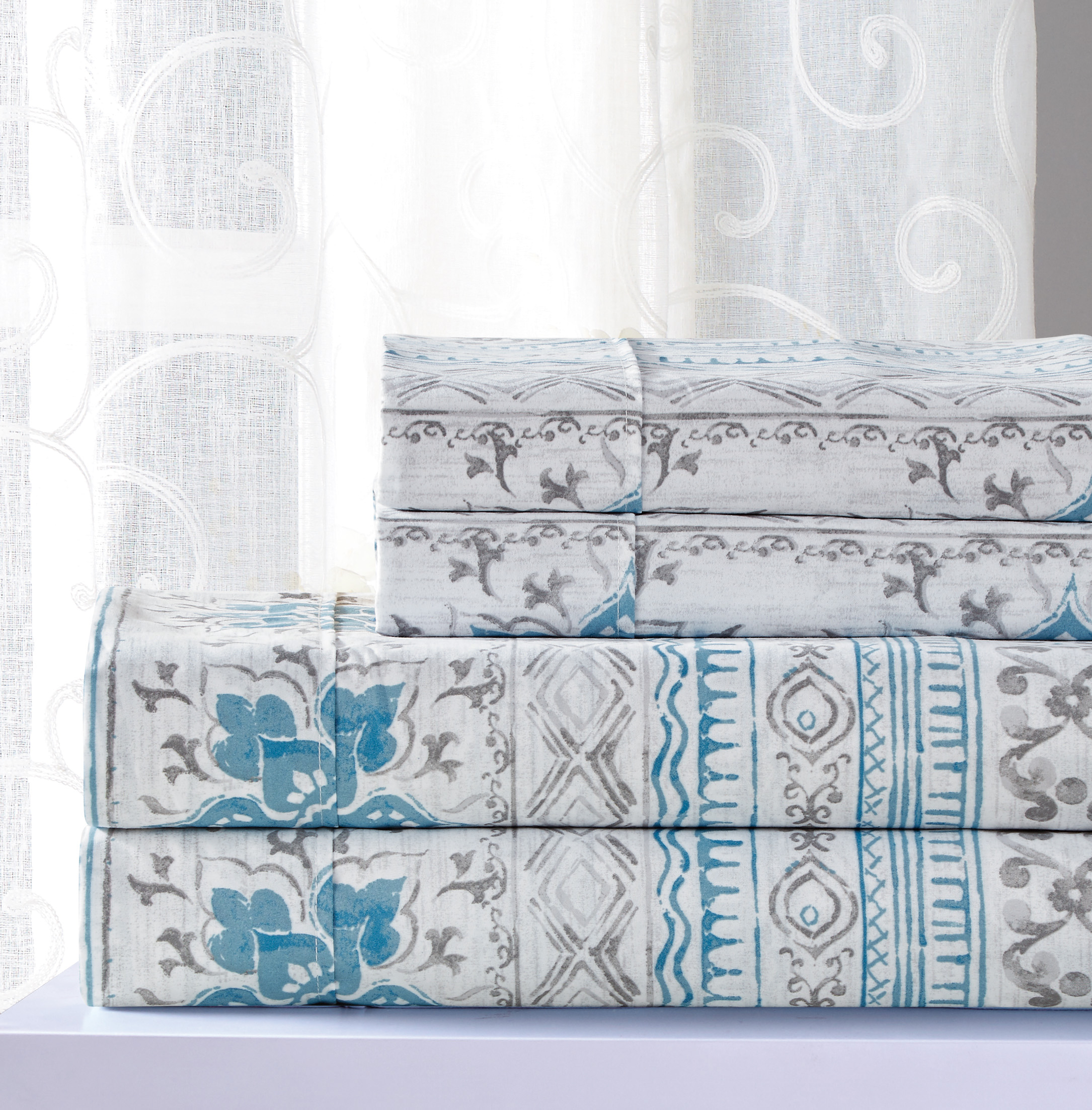Printed Sheet Sets Essential Willow 4 Piece Printed Sheet Set Queen