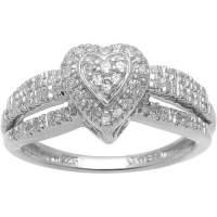 1/7 Carat. T.W. Diamond Sterling Silver Heart-Shape ...