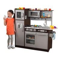 KidKraft Uptown Espresso Kitchen with 30 Piece Play Food ...
