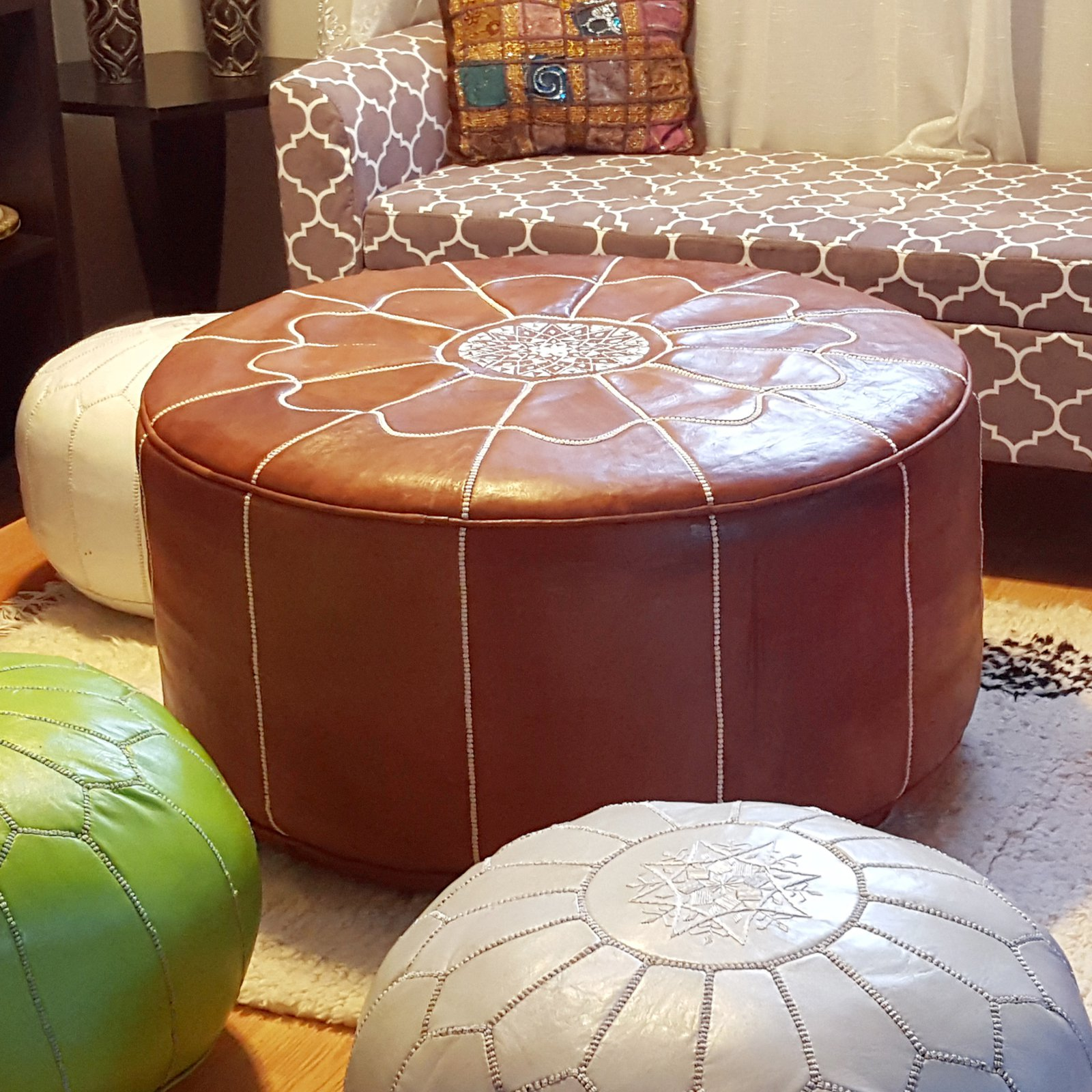 Pouf Xl Ikram Design Genuine Leather Xl Round Moroccan Pouf Ottoman