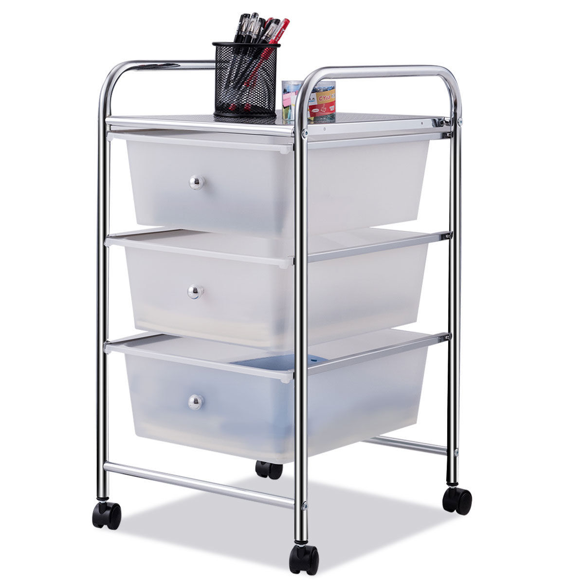 A Frame Trolley Ghp Steel Frame Pp 3 Drawer Trolley Cart With Swivel Wheels Sliding Drawers