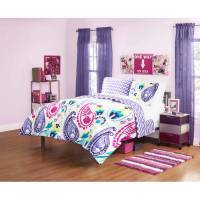 your zone boho paisley bedding comforter set, purple ...