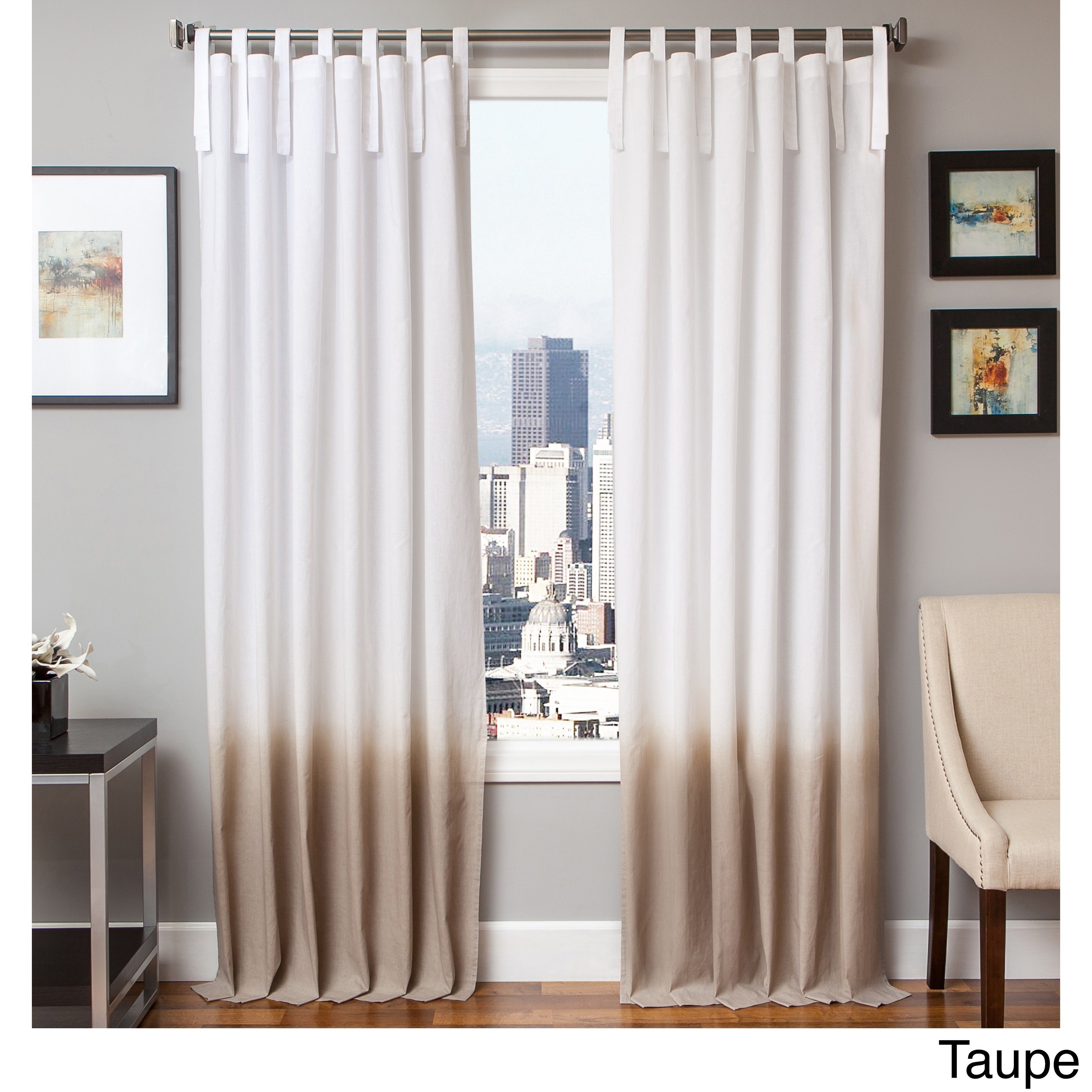 Cotton Curtain Panels Softline Tie Tab Ombre Cotton And Linen Curtain Panel