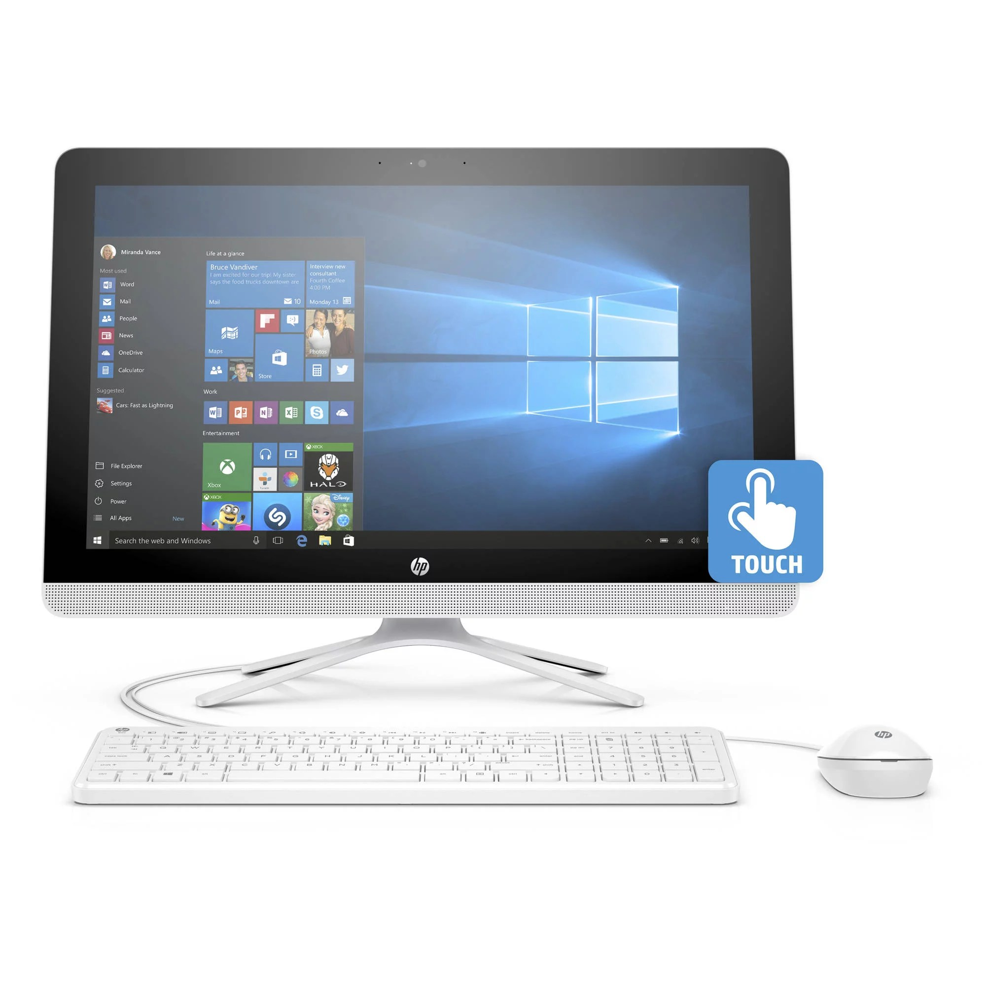 All In One Hp 22 B013w Snow White All In One Pc With 21 5