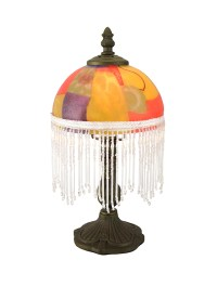 Metal Candlestick Style Accent Lamp w/Bead Fringe Colorful ...