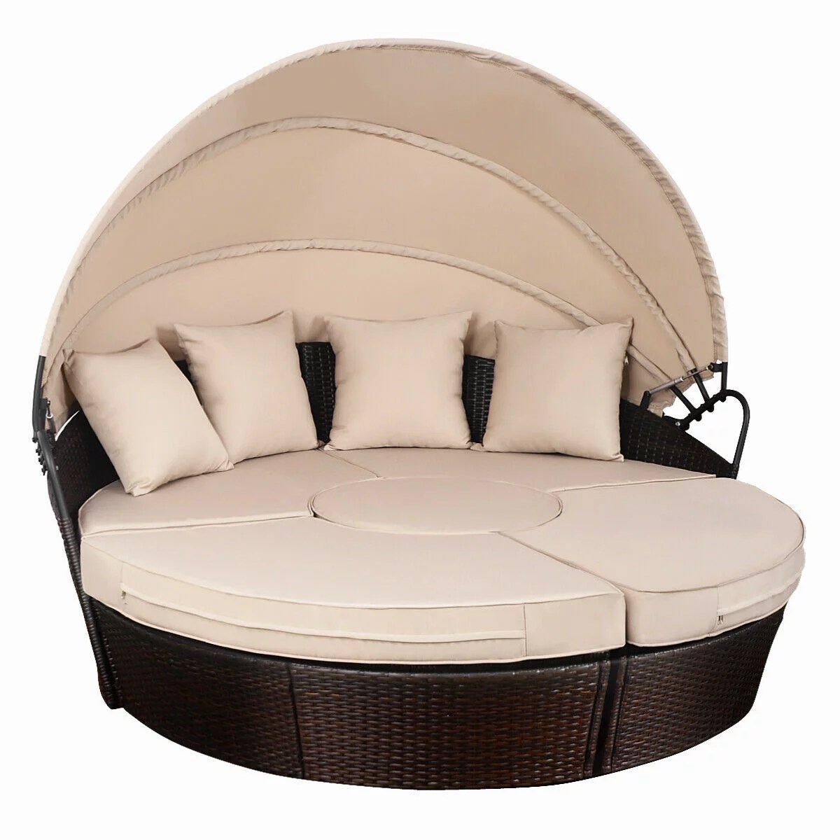 Sofa Rattan Costway Outdoor Mix Brown Rattan Patio Sofa Furniture Round Retractable Canopy Daybed
