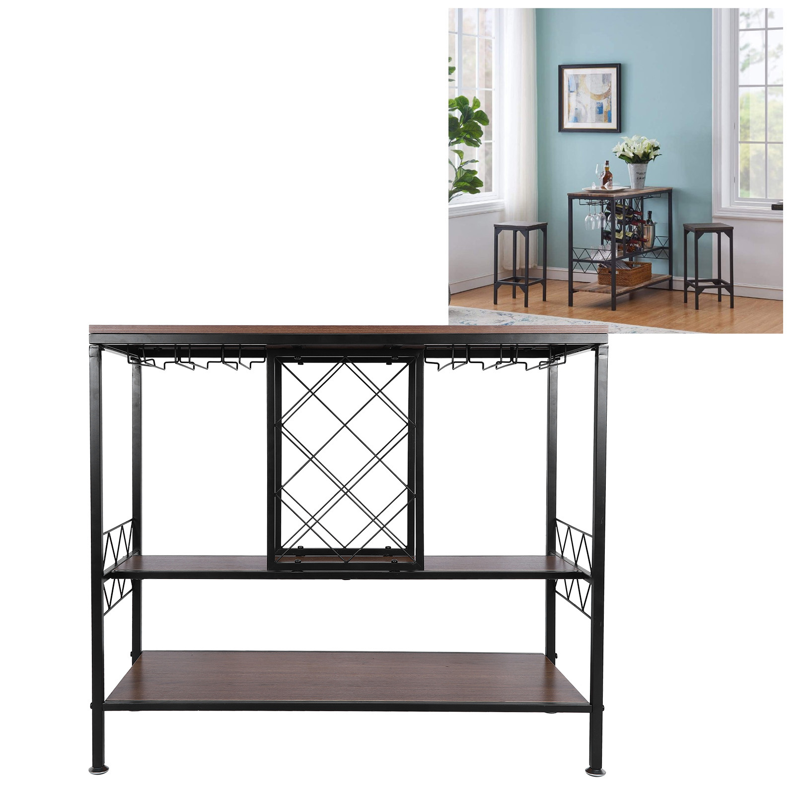 Higoodz Wine Table Wine Cabinet 3 Layer Wine Rack Table With Glass Holder Wine Cabinets Organizer Home Living Room Bar Supply Walmart Com Walmart Com
