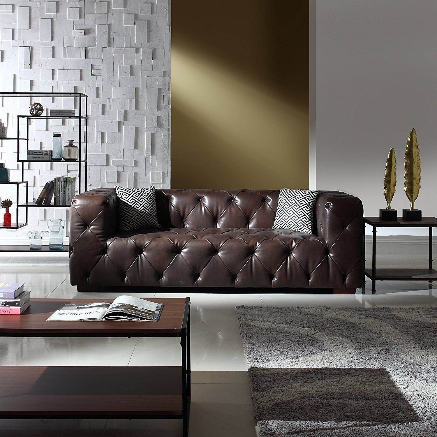 Sofa Couch Or Chesterfield Large Tufted Real Italian Leather Chesterfield Sofa Classic Living Room Couch Dark Brown