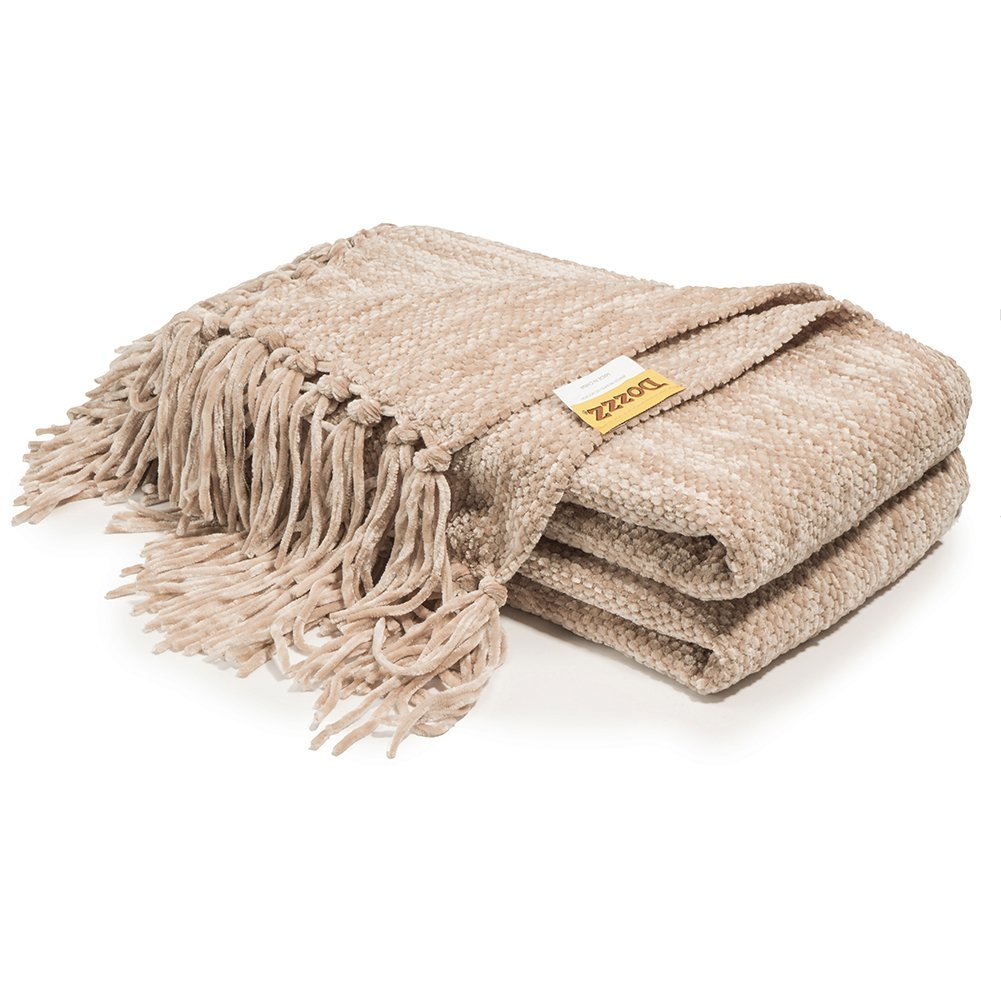 Decorative Sofa Throws Blankets Decorative Thick Chenille Throw Blanket For Couch Throws Sofa Cover Soft Bedding Throw Blanket With Fringe 60 X 50 Inch Light Brown