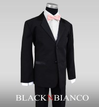 Boys Tuxedo in Black with a Light Pink and Black Bow Tie ...