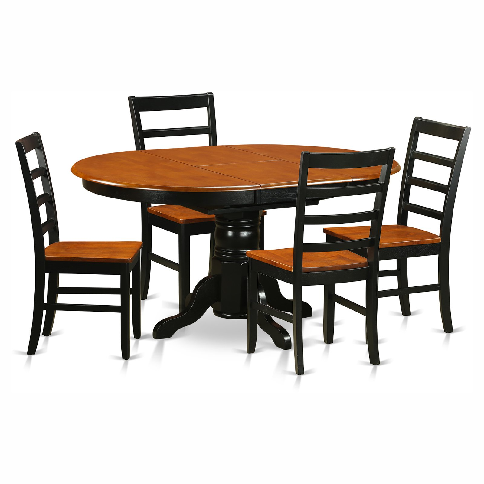 Avon 5 Piece Pedestal Oval Dining Table Set With Parfait Wooden Seat Chairs Walmart Com Walmart Com