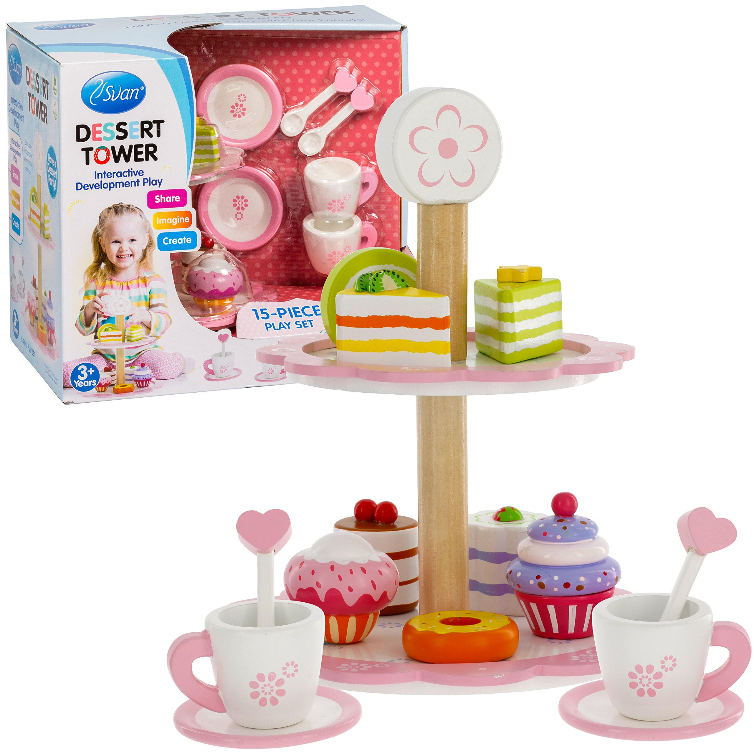 Tea Set Toy Tea Set And Dessert Tower Toy 15 Pc Cups Tower And Miniature Cakes And Sweets