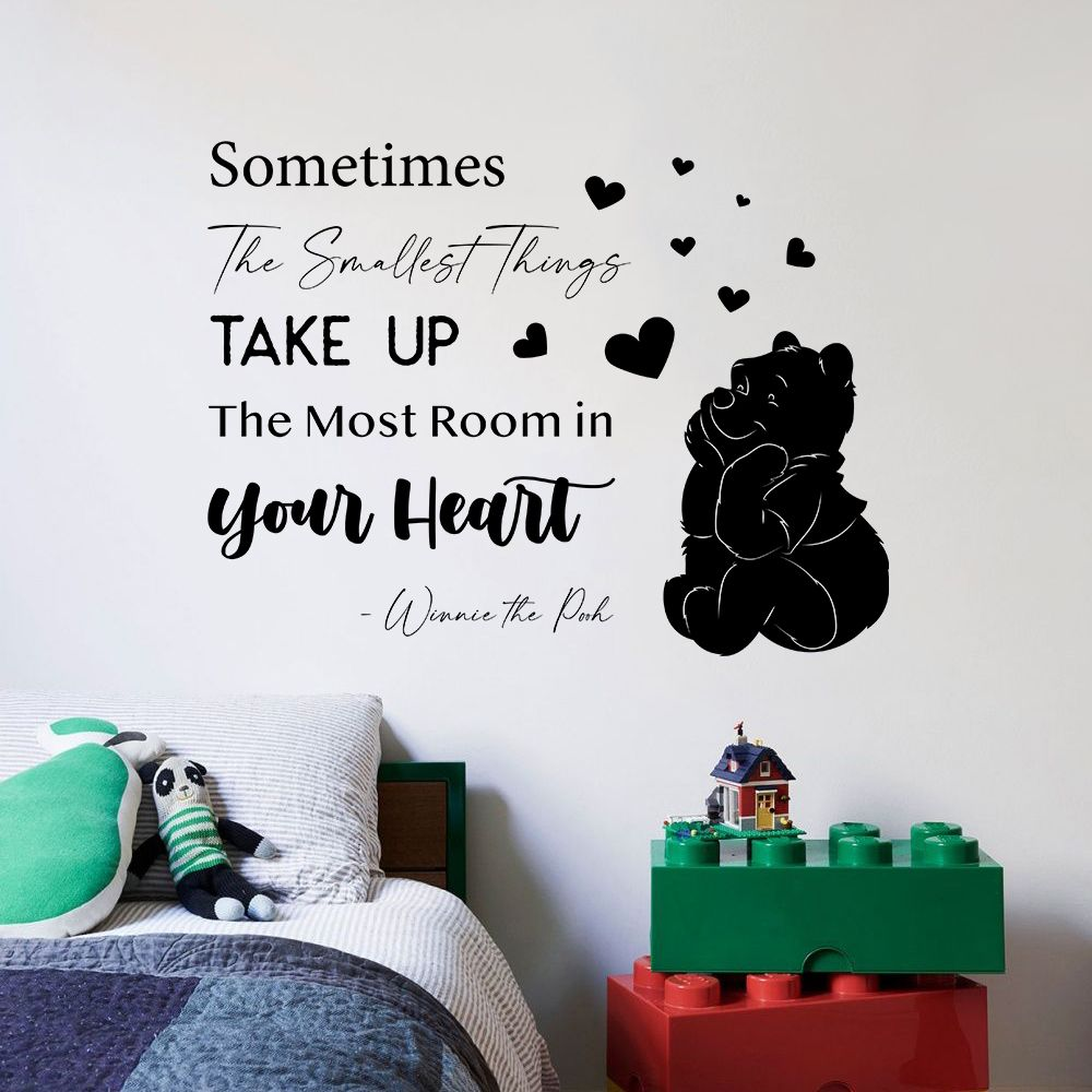 Sometimes The Smallest Things Winnie Pooh Quote Positive Life Inspiration Quotes Saying Wall Art Sticker Designs Vinyl Stickers For Home House Walls Rooms Windows Bedroom Decoration Size 18x20 Inch Walmart Com