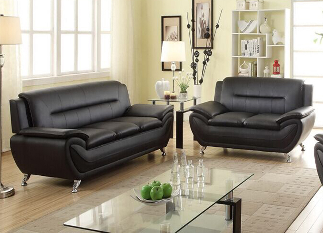 Brown Sofa And Loveseat Sets Norton 2 Pc Black Faux Leather Modern Living Room Sofa And Loveseat Set