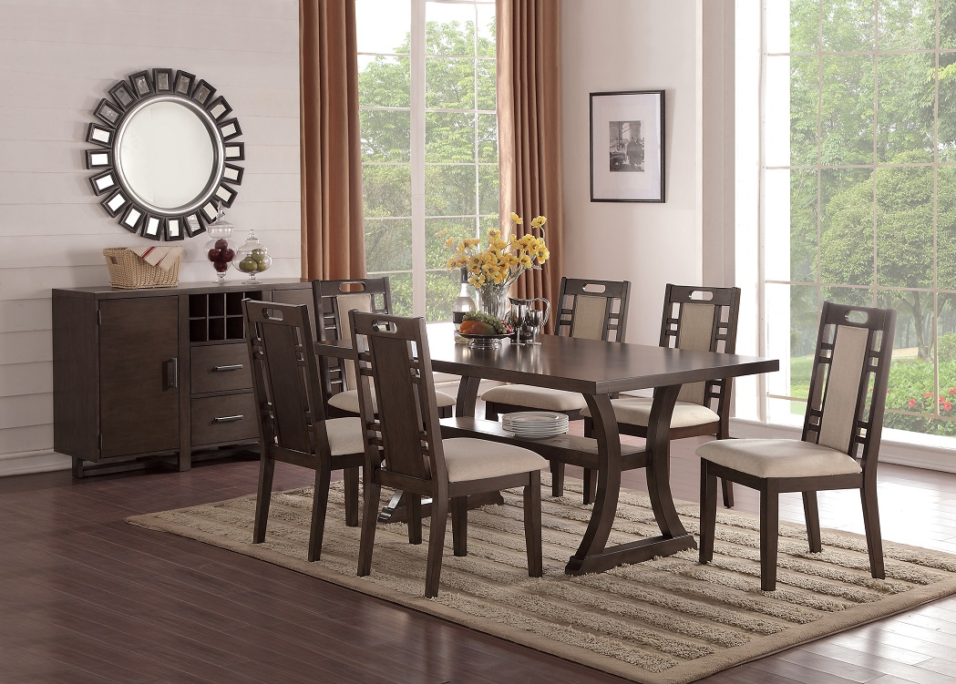 Modern Contemporary 7pc Dining Set Earthy Grey Hues Dining Table W Curved Legs Padded Side Chairs W Cut Outs Dining Room Furniture Walmart Com Walmart Com