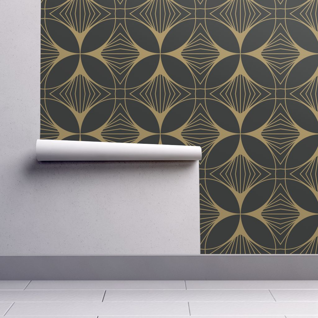 Art Deco Style & Light Peel And Stick Removable Wallpaper Art Deco Art Deco Black Gold Geometic Art