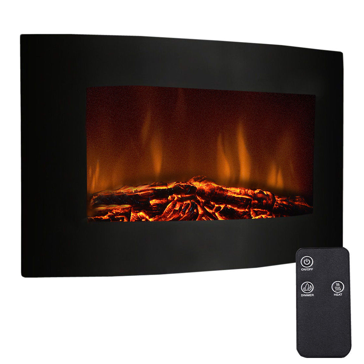 Wall Mount Fireplaces Best Choice Products 50in Indoor Electric Wall Mounted Fireplace Heater W Adjustable Heating Metal Glass Frame Controller Black