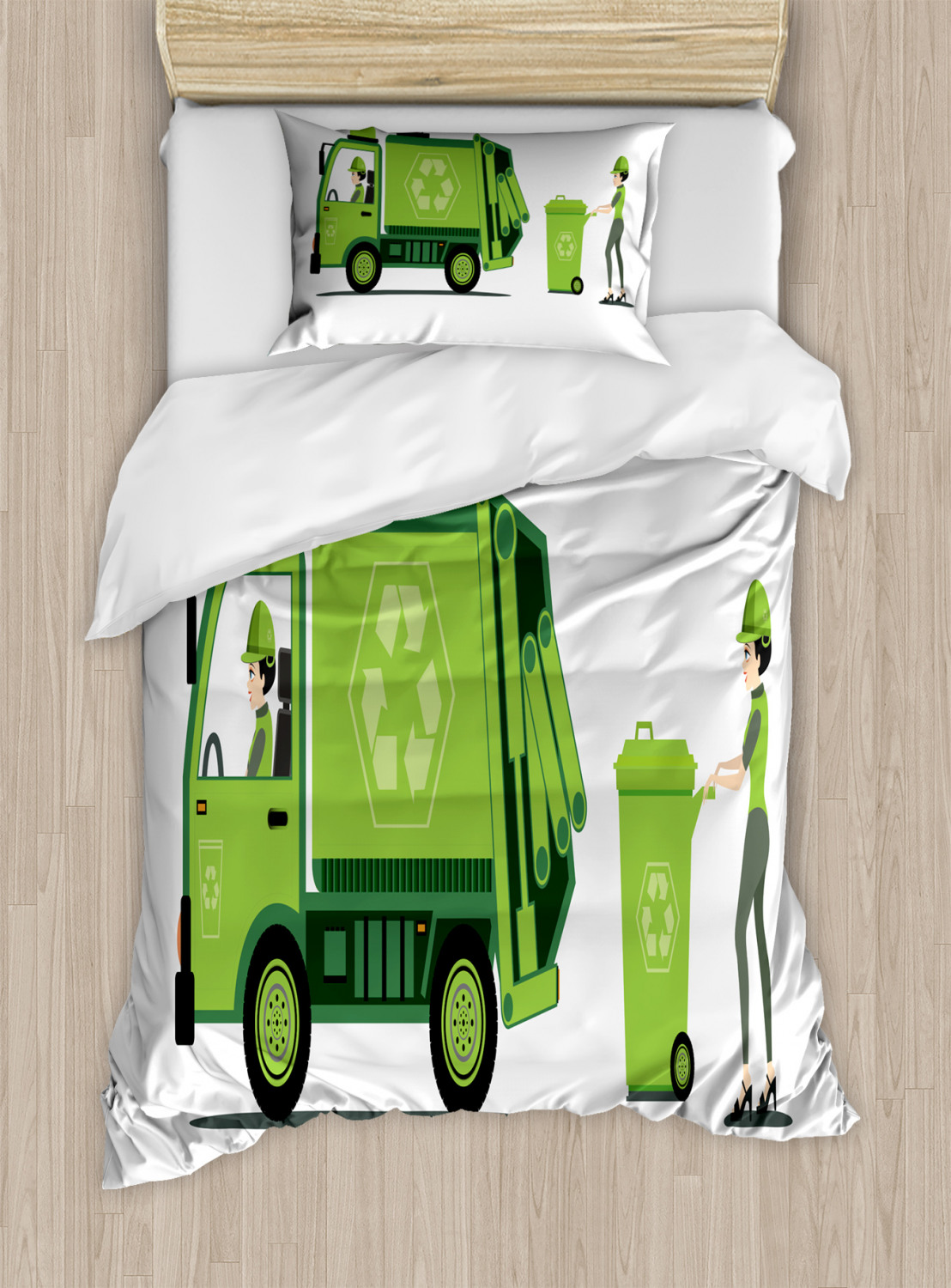 Garbage Truck Duvet Cover Set Trash Picking Done By Staff Green Monochrome Recycling Themed Cartoon Decorative Bedding Set With Pillow Shams Apple Green White By Ambesonne Walmart Com Walmart Com