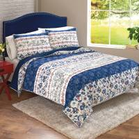 Better Homes and Gardens Blue Floral Patchwork Banded ...