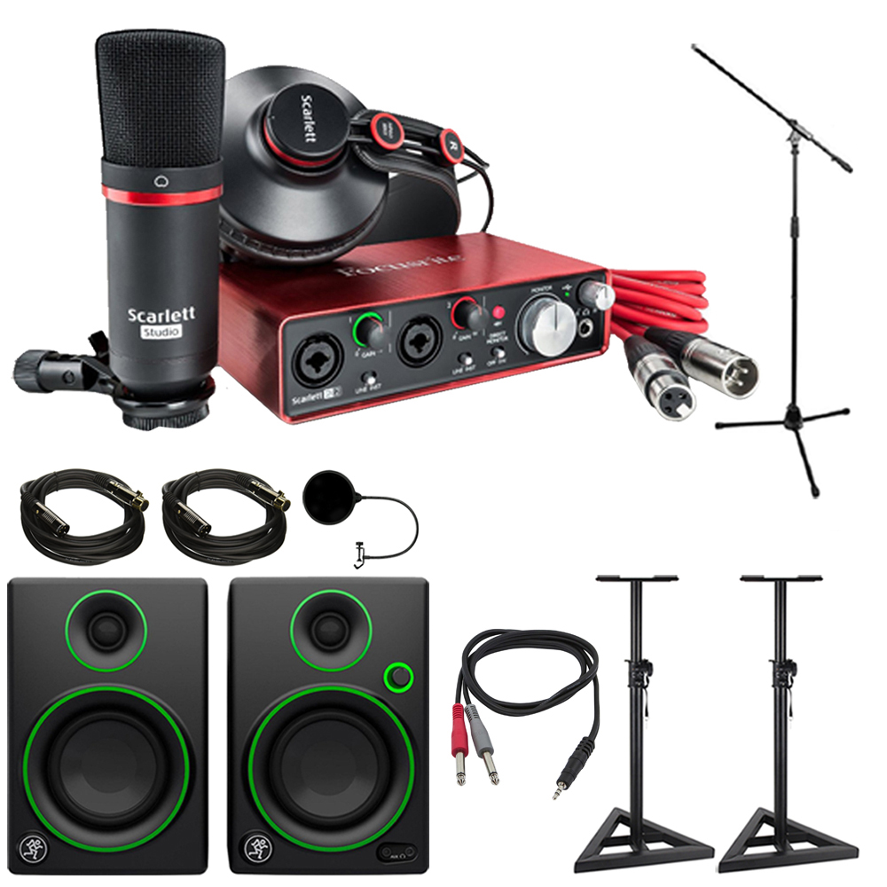 Scarlett 2i2 Focusrite Scarlett 2i2 Studio Usb Audio Interface Recording Bundle 2nd Gen Mackie Cr Series Cr3 Multimedia Monitors Pair 2x Deco Mount Pa