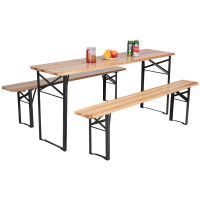 Costway 3 PCS Beer Table Bench Set Folding Wooden Top ...