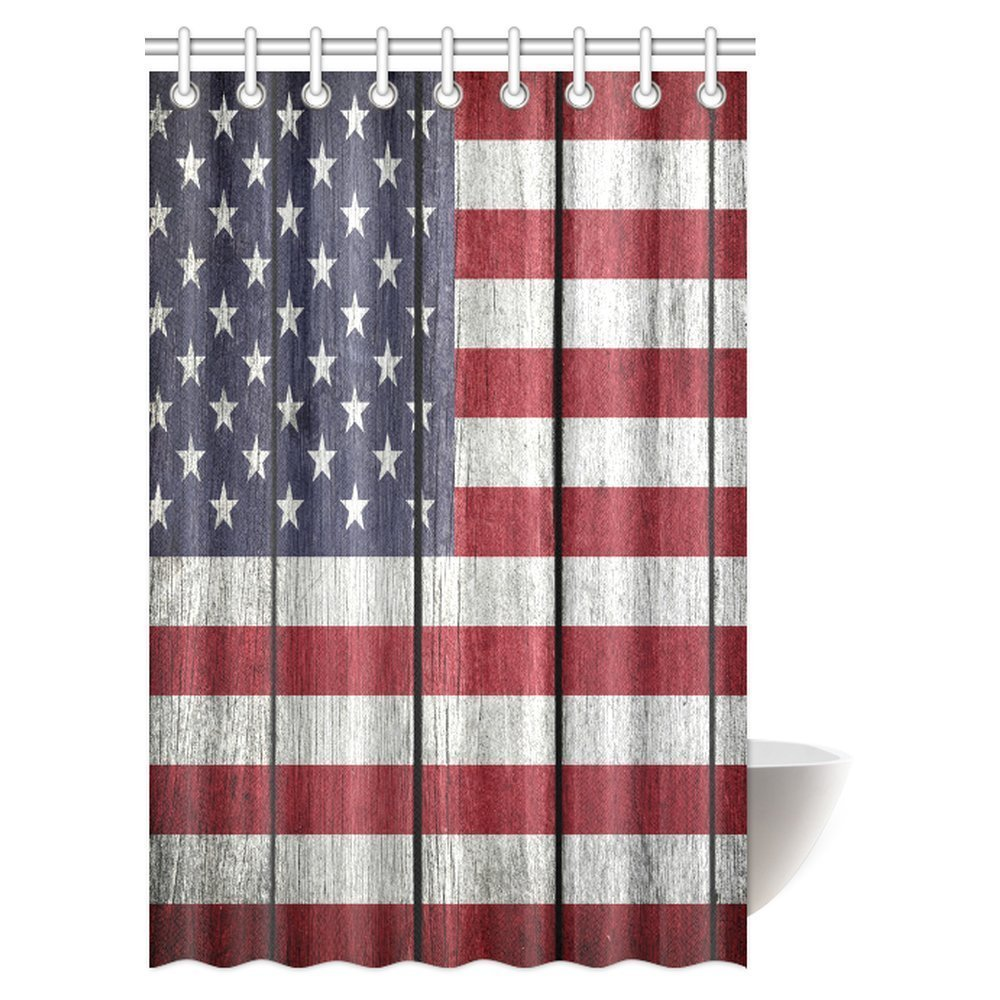 Usa Shower Curtain Mypop Usa Flag Shower Curtain United States Of America Flag On Old Vintage Wood Fabric Bathroom Shower Curtain 48 X 72 Inches